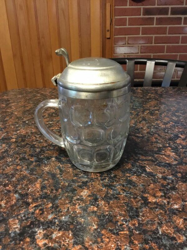 Vintage Ravenhead Dimpled Covered Glass Beer Mug Stein England