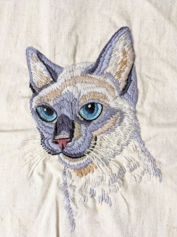 """Vintage Embroidery Siamese Cat, Ready To Be A Pillow Or Wall Hanging! 13"""" X 10"""""""