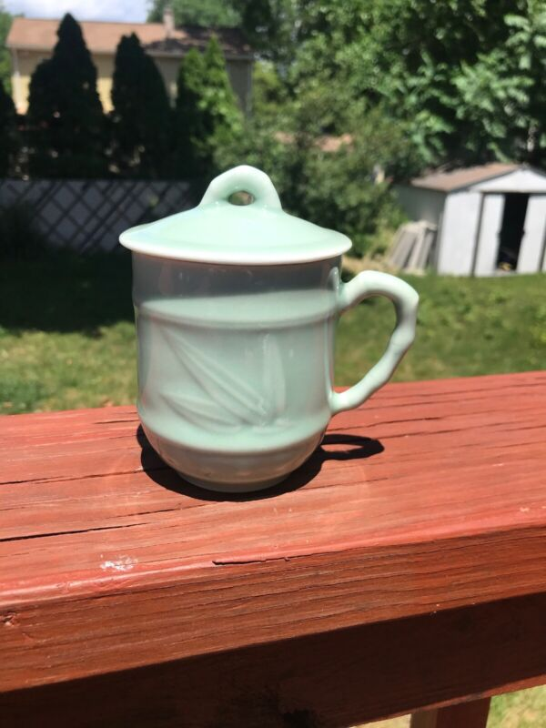 "VTG Chinese Celadon pale green Bamboo Design Tea CUP Coffee MUG with LID ""C"" EUC"