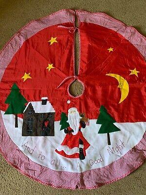 "Vintage Santa And To All A Good Night Christmas Tree Skirt 54"" Round"