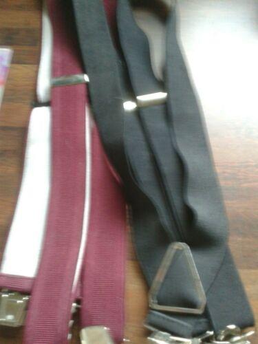 Mixed Lot 2 Pairs Mens Adjustable Braces Plain Black & Burgundy Chrome Clips