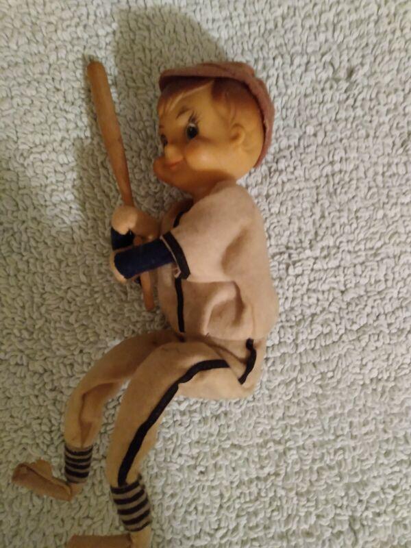 Folk Art Boy With Baseball Bat 9 In