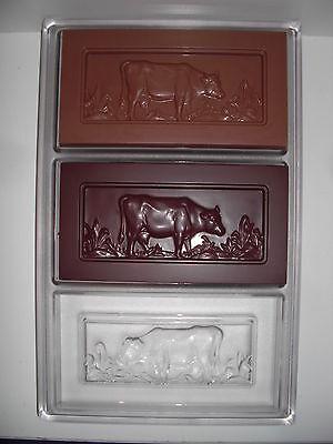 NEUE SCHOKOLADENFORM 3 x Tafel mit Kuh NEW chocolate mold ANTON REICHE # 22836
