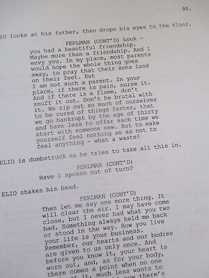Call Me By Your Name Movie Script 2017 Unsigned