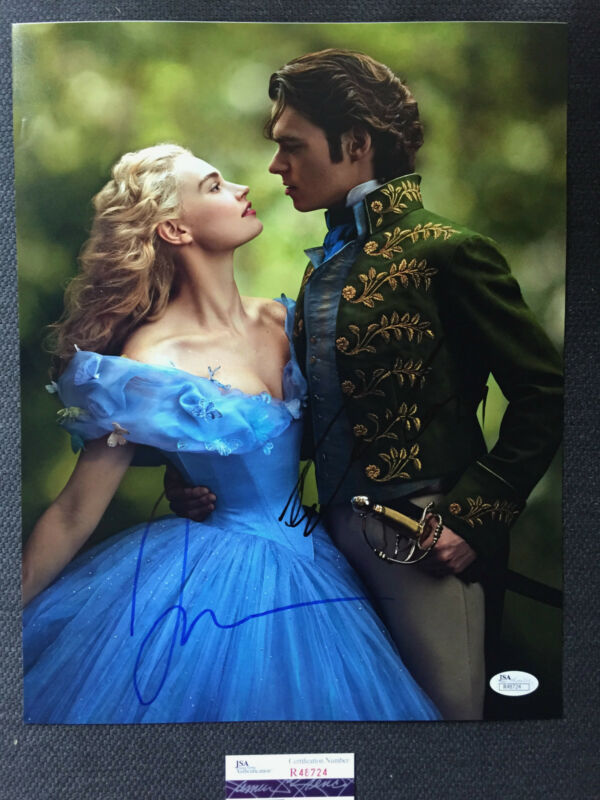Richard Madden Lily James Cinderella Autographed Signed 11x14 Photo JSA COA
