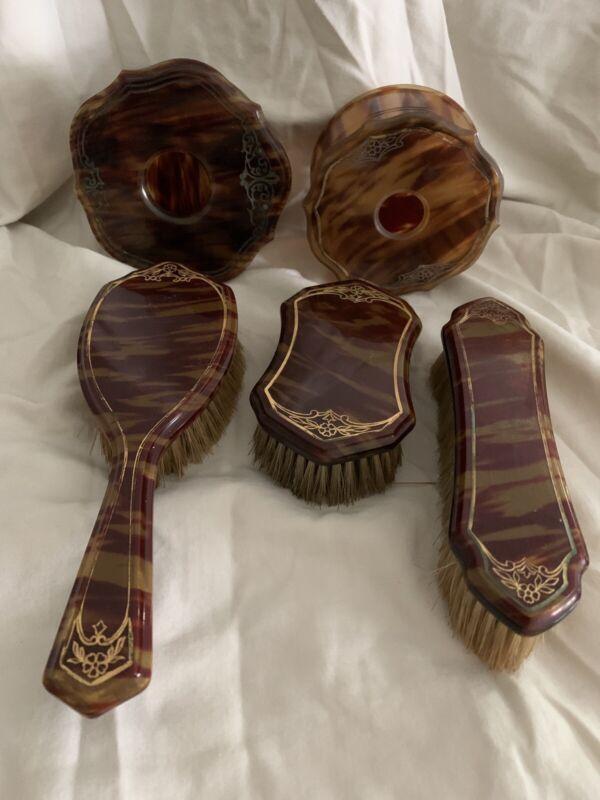 Vintage Pyralin Faux Tortoise Shell Celluloid Bakelite Dresser Vanity Set 1920s