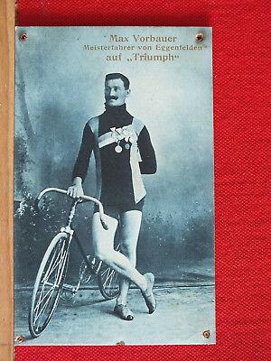 Werbekarte - Max Vorbauer - Meisterfahrer von Eggenfelden auf Triumph Fahrrad  m