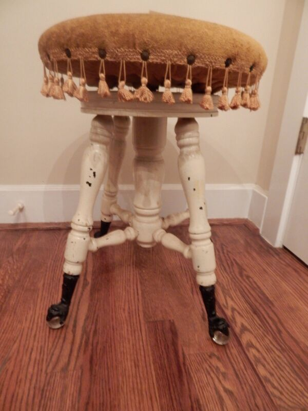 "Swiveling Antique Piano Stool Metal Claw Feet Glass Balls 20""h x 14.75""d"