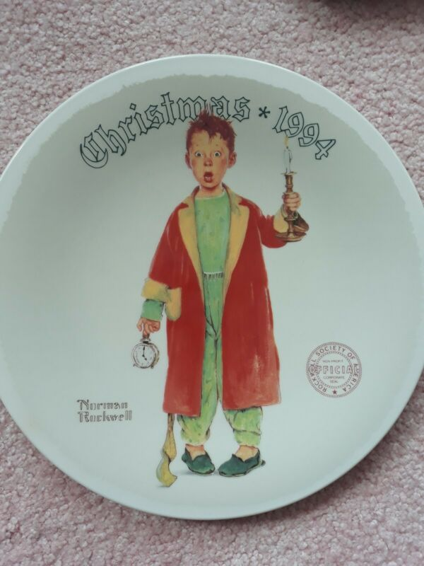 """Norman Rockwell Plate Christmas Marvel 1994 6-1/2"""" Collector Vintage COA"""
