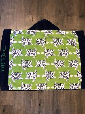 Pottery Barn Hooded Infant Bath Towel Green Blue Sea Turtles Personalized JACE