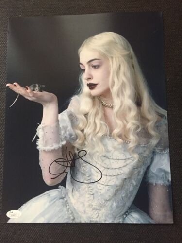 Alice In Wonderland Anne Hathaway Autographed Signed 11x14 Photo JSA COA