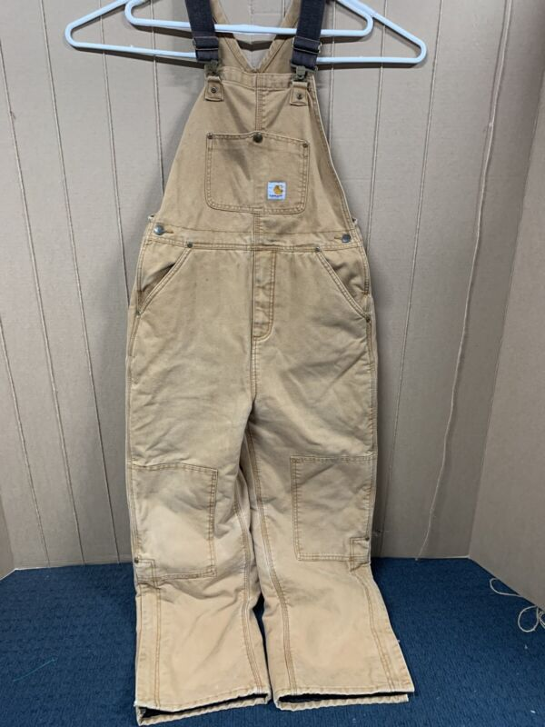 Carhartt Duck Bib Overalls; Youth size 16; Brown; Insulated; Carpenter