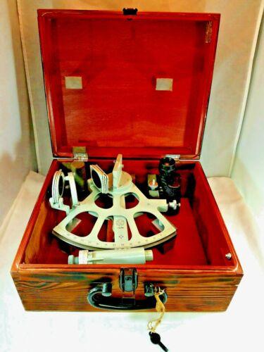Freiberger Prazisionsmechanik Drum Sextant In Original wood Box With Starfinders