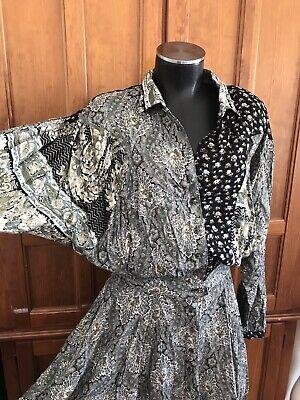80s Dresses | Casual to Party Dresses Vtg 80s CAROLE LITTLE patchwork Floral Print Rayon Full Skirt Gypsy Boho DRESS $68.00 AT vintagedancer.com