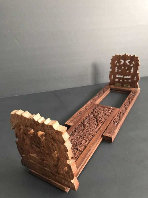 Carved Wood Book Stand Holder Adjustable Made In India