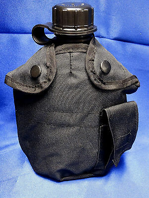 NEW US Military Tactical Survival Black 1 QT Water Canteen + Cover Alice Clips