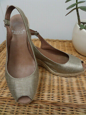 Ferchi Light Gold Sand Hessian Wedge Peep Toe Sling Back Sandals Shoes Size 5/38