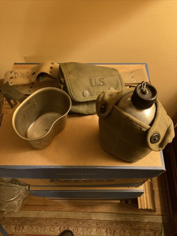 Us Pouch With Supplies, Canteen With Pouch, Belt, Canteen Holder.