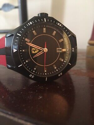Sporty Ferrari Scuderia Watch Model SF.03.1.34.0055 Red Strap Black Face exclnt