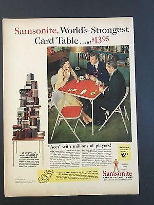 1954 Vintage Ad for Samsonite Worlds Strongest Card Table