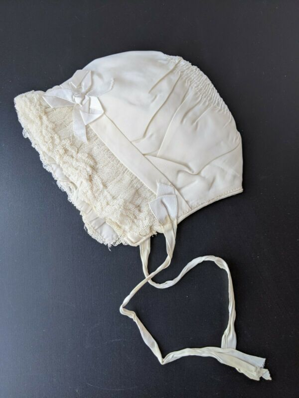 Vintage Silk Baby Bonnet with Lace, Ribbon Bow