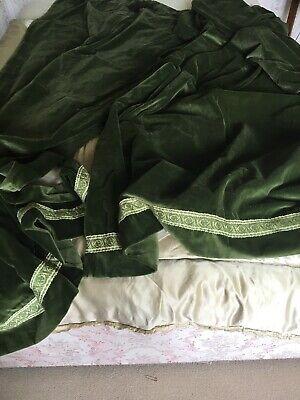 Vintage Pair Of Long Forest Green Velvet Curtains