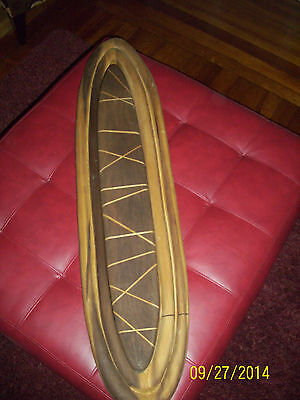 wood sculptor surfboard art one of a kind rare unknown inlayed work wall hanger