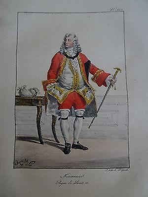 Gravure PORTRAIT COSTUME HOMME MODE FINANCE BANQUE VERSAILLES LOUIS XV 1820