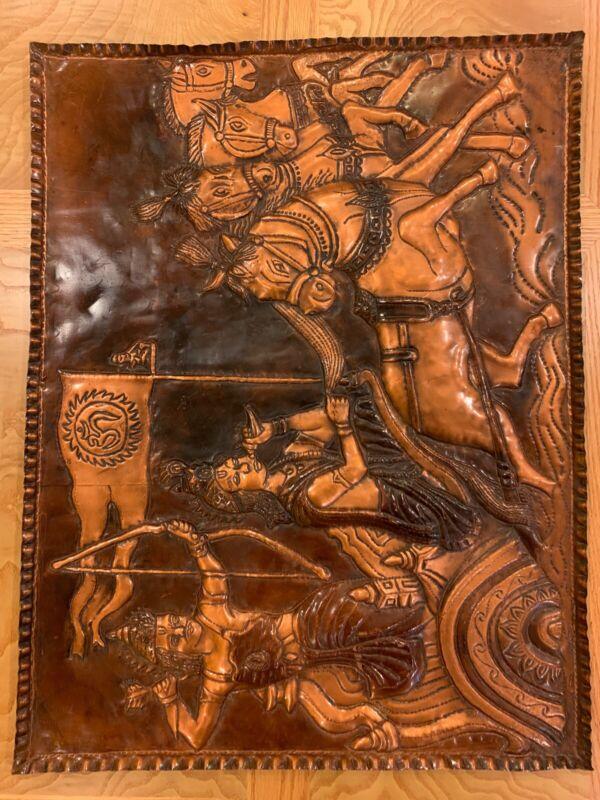 Vintage Mahabharat War Wall Art 3D Copper Hindu Wall Art