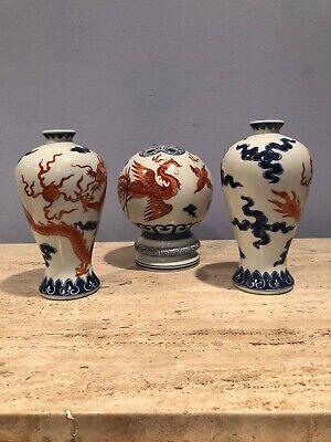 """Ming Style"" Phoenix Bird ""Dragon's Bride"" And ""Dragon"" Porcelain Vases"