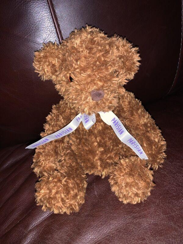 Saks Department Store  Parisian Brown Teddy Bear Ribbon Bow Plush