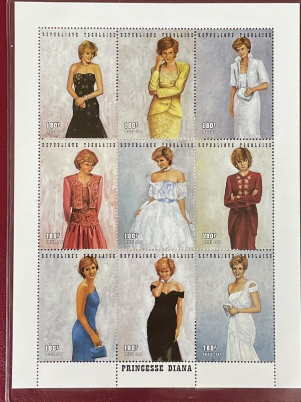 Princess Diana Royal Gowns Plate Block Of 9 Stamps With Authenticity Certificate
