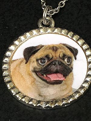 """Dog Pug Tongue Out Charm Tibetan Silver 18"""" Necklace"""