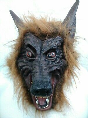 Werewolf Costume Mask Brown Furry Scary Latex Wolf Adult Halloween