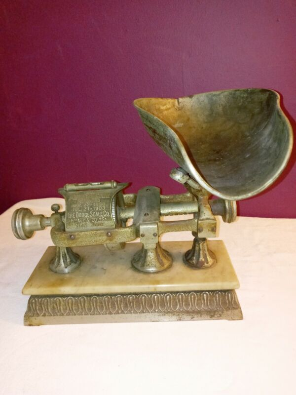 AntiqueTHE MICROMETER Scale Dodge Mfg Co 1898 Yonkers NY 5 LB IRON& MARBLE Scale