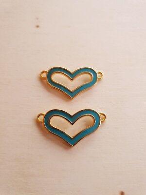 2 x Emaillierte Herz Verbinder ♥ Schmuckzubehör Basteln Deko Charms Blau/Gold
