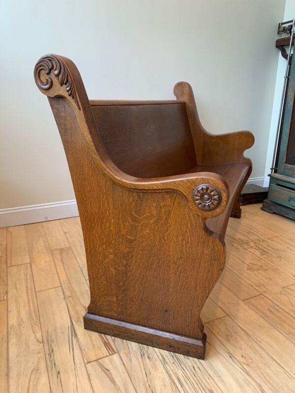 """Beautiful Antique Quartersawn Oak 61"""" Church Pew 1900"""