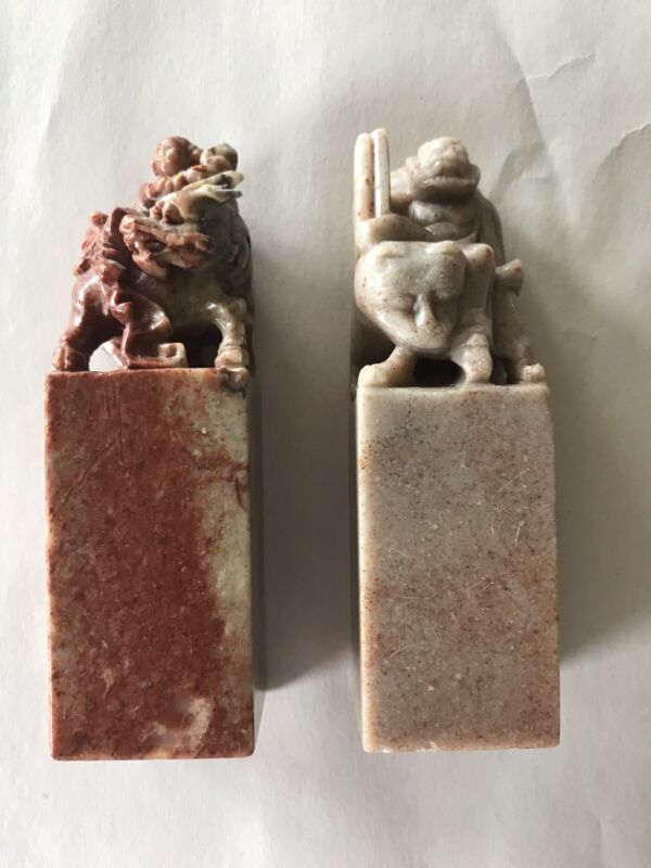 Pair Of Vintage Chinese Chop Stamps Man With Foo Dog And Man On Lion