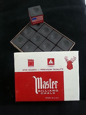 1 BOX ( 12 PIECES ) NEW BLACK MASTER CHALK PACK  - POOL & BILLIARD CUE CHALK