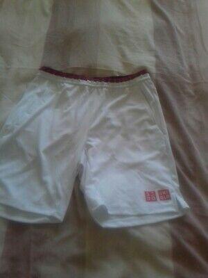 Uniqlo Size Medium Roger Federer White Tennis Shorts BNWT Australian Open 2020