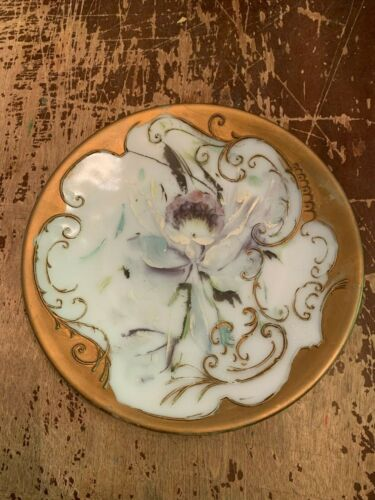 Antique Victorian Hand Painted Milk Glass Plate Iris Flower