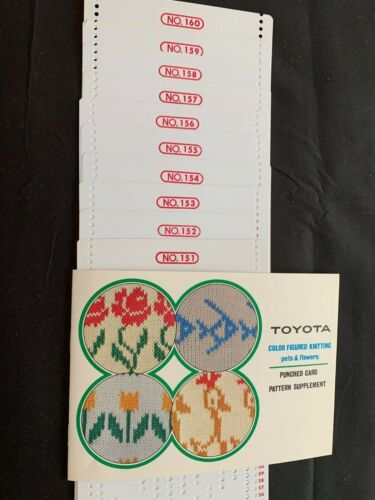 TOYOTA PUNCH CARD KNITTING MACHINE 12 ST PUNCH CARDS 151-160 PETS & FLOWERS K747