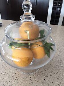 Lidded Glass Bowl Lolly Jar Display Bathroom Terrarium Vases
