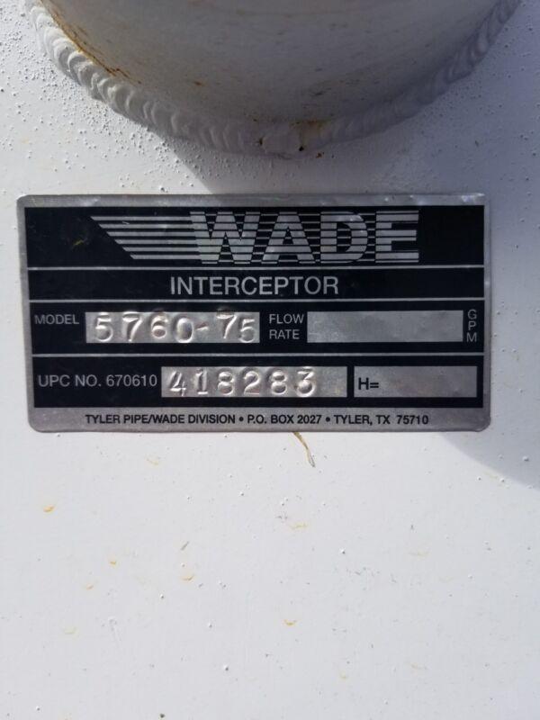 Wade Interceptor 5760 Solids Interceptor: Top Access On-Floor Trap Type