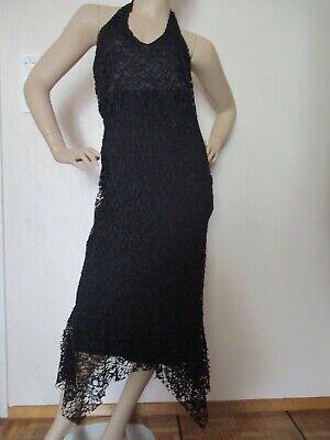 Kleid Netzkleid schwarz Gr. M-L Stretch Zipfel Neckholder - Neckholder Ärmellos Kostüme
