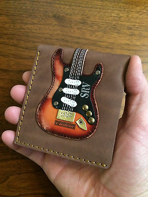 Stevie Ray Vaughan Real Leather Mens Guitar Wallet w/ Guitar Pick Holder