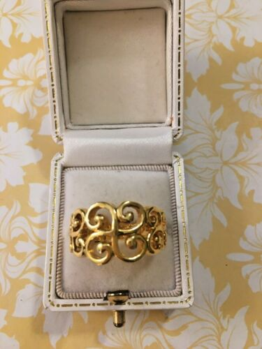 Premier Designs Signed PD Ring Ornate Scrollwork Gold Plated Metal Women Size 7