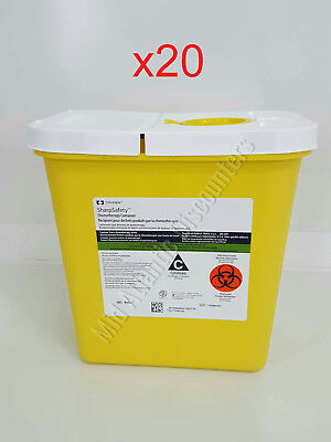 20 Covidien Sharpsafety 8982 Chemotherapy Container 2 Gal Hinged Lid Yellow