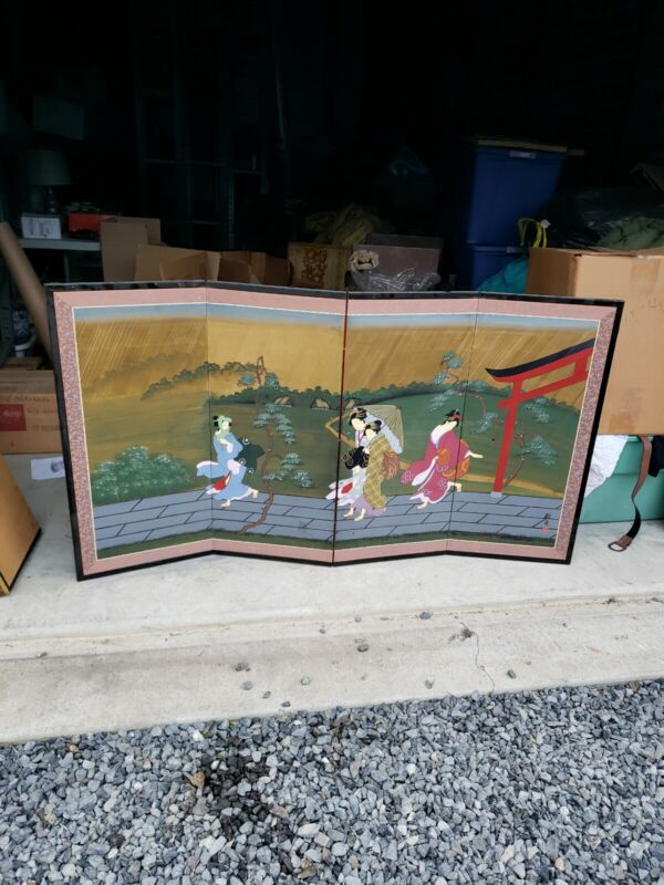 Japanese Painted Folding Screen Artist Unknown