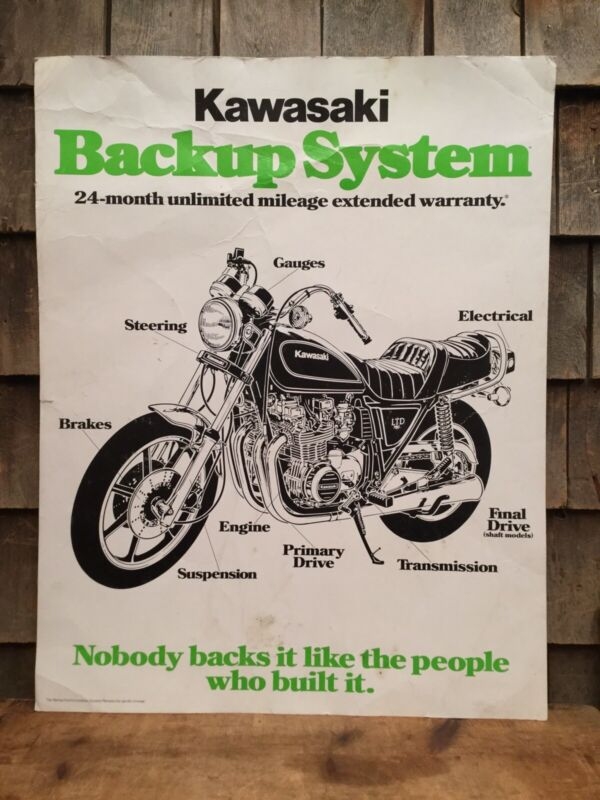 Vintage Kawasaki Motorcycle BACK UP SYSTEM Advertising Poster Sign Store Display